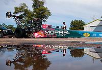 Aug 18, 2019; Brainerd, MN, USA; NHRA top fuel driver Leah Pritchett during the Lucas Oil Nationals at Brainerd International Raceway. Mandatory Credit: Mark J. Rebilas-USA TODAY Sports