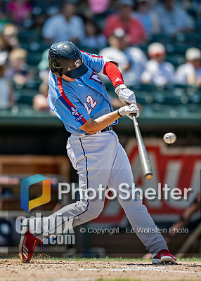 23 June 2019: New Hampshire Fisher Cats catcher Riley Adams at bat against the Trenton Thunder at Northeast Delta Dental Stadium in Manchester, NH. The Thunder defeated the Fisher Cats 5-2 in Eastern League play. Mandatory Credit: Ed Wolfstein Photo *** RAW (NEF) Image File Available ***