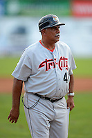 Tri-City ValleyCats manager Ed Romero (48) during a game against the Batavia Muckdogs on July 13, 2013 at Dwyer Stadium in Batavia, New York.  Tri-City defeated Batavia 5-4.  (Mike Janes/Four Seam Images)