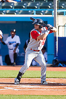Tyler Moore (15) of the Brooklyn Cyclones at bat against the Hudson Valley Renegades at Dutchess Stadium on June 18, 2014 in Wappingers Falls, New York.  The Cyclones defeated the Renegades 4-3 in 10 innings.  (Brian Westerholt/Four Seam Images)