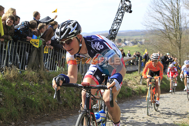 The breakaway group including Gert Dockx (BEL) Lotto Belisol Team and Peio Bilbao (ESP) Euskaltel-Euskadi climb Koppenberg during the 96th edition of The Tour of Flanders 2012, running 256.9km from Bruges to Oudenaarde, Belgium. 1st April 2012. <br /> (Photo by Eoin Clarke/NEWSFILE).
