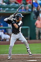 Pedro Gonzalez (22) of the Grand Junction Rockies at bat against the Ogden Raptors in Pioneer League action at Lindquist Field on August 25, 2016 in Ogden, Utah. The Rockies defeated the Raptors 12-3. (Stephen Smith/Four Seam Images)