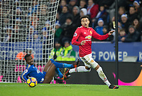 Jesse Lingard of Man Utd chases the ball after his shot rebounds off the post during the EPL - Premier League match between Leicester City and Manchester United at the King Power Stadium, Leicester, England on 23 December 2017. Photo by Andy Rowland.