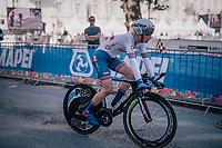 Ben Tullet (GBR)<br /> <br /> post-race battlefield in the finish zone<br /> <br /> MEN JUNIOR INDIVIDUAL TIME TRIAL<br /> Hall-Wattens to Innsbruck: 27.8 km<br /> <br /> UCI 2018 Road World Championships<br /> Innsbruck - Tirol / Austria