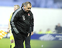 31/01/2009  Copyright Pic: James Stewart.File Name : sct_jspa20_falkirk_v_aberdeen.ABERDEEN MANAGER JIMMY CALDERWOOD CAN'T BEAR TO WATCH HIS SIDE GO 1-0 DOWN TO FALKIRK.James Stewart Photo Agency 19 Carronlea Drive, Falkirk. FK2 8DN      Vat Reg No. 607 6932 25.Studio      : +44 (0)1324 611191 .Mobile      : +44 (0)7721 416997.E-mail  :  jim@jspa.co.uk.If you require further information then contact Jim Stewart on any of the numbers above.........