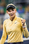 August 1, 2019: Donna Vekic (CRO) reacts after defeating Victoria Azarenka (BLR) 6-4, 6-3 in the second round of the Mubadala Silicon Valley Classic at San Jose State in San Jose, California. ©Mal Taam/TennisClix/CSM