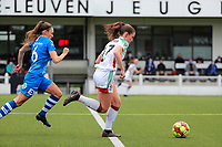 Emma Van Britsom (6) of AA Gent and Marie Detruyer (17) of OHL in action during a female soccer game between Oud Heverlee Leuven and AA Gent Ladies on the 9 th matchday of play off 1 in the 2020 - 2021 season of Belgian Womens Super League , saturday 22 nd of May 2021  in Heverlee , Belgium . PHOTO SPORTPIX.BE   SPP   SEVIL OKTEM