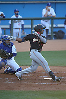 Alberto Rodriguez (45) of the Modesto Nuts bats against the Rancho Cucamonga Quakes at LoanMart Field on May 14, 2021 in Rancho Cucamonga, California. (Larry Goren/Four Seam Images)