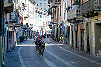 peloton rolling through town<br /> <br /> 112th Milano-Sanremo 2021 (1.UWT)<br /> 1 day race from Milan to Sanremo (299km)<br /> <br /> ©kramon