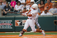 Texas Longhorns outfielder Mark Payton #2 swings the bat during the NCAA baseball game against the Oklahoma State Cowboys on April 26, 2014 at UFCU Disch–Falk Field in Austin, Texas. The Cowboys defeated the Longhorns 2-1. (Andrew Woolley/Four Seam Images)