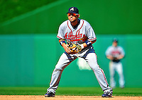 25 September 2010: Atlanta Braves infielder Omar Infante in action against the Washington Nationals at Nationals Park in Washington, DC. The Braves shut out the Nationals 5-0 to even their 3-game series at one win apiece. The Braves' victory was the 2500th career win for skipper Bobby Cox. Cox will retire at the end of the 2010 season, crowning a 29-year managerial career. Mandatory Credit: Ed Wolfstein Photo
