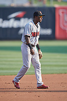Jorge Mateo (14) of the Nashville Sounds on defense against the Salt Lake Bees at Smith's Ballpark on July 28, 2018 in Salt Lake City, Utah. The Bees defeated the Sounds 11-6. (Stephen Smith/Four Seam Images)