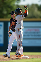 San Jose Giants third baseman Wander Franco (12) celebrates after hitting a double during a California League game against the Modesto Nuts at John Thurman Field on May 9, 2018 in Modesto, California. San Jose defeated Modesto 9-5. (Zachary Lucy/Four Seam Images)