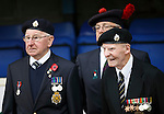 St Johnstone v Kilmarnock...07.11.15  SPFL  McDiarmid Park, Perth<br /> A Remembrance Service was held before kick off....WW2 veteran 96 year old Gerry Kerrigan (right) of the Royal Army Service Corp attends the service<br /> Picture by Graeme Hart.<br /> Copyright Perthshire Picture Agency<br /> Tel: 01738 623350  Mobile: 07990 594431