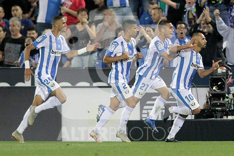 CD Leganes' Youssef En-Nesyri, Juanfran Moreno, Oscar Rodriguez Arnaiz, Nabil El Zhar during La Liga match. September 26,2018. (ALTERPHOTOS/Acero)