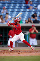 Clearwater Threshers shortstop Grenny Cumana (12) at bat during a game against the Palm Beach Cardinals on April 14, 2017 at Spectrum Field in Clearwater, Florida.  Clearwater defeated Palm Beach 6-2.  (Mike Janes/Four Seam Images)
