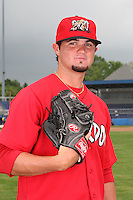 Batavia Muckdogs pitcher Justin Edwards (10) poses for a photo before minicamp team practice at Dwyer Stadium in Batavia, New York June 14, 2010.   Photo By Mike Janes/Four Seam Images