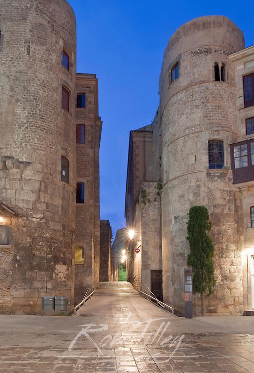 Europe, Spain, Catalonia, Barcelona, Gothic Quarter, Old Roman Gate at Dawn