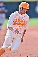 Tennessee Volunteers third baseman Nick Senzel (13) rounds third during game one of a double header against the UC Irvine Anteaters at Lindsey Nelson Stadium on March 12, 2016 in Knoxville, Tennessee. The Volunteers defeated the Anteaters 14-4. (Tony Farlow/Four Seam Images)