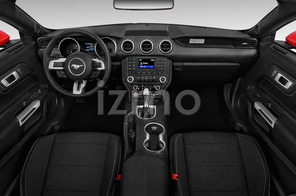 Stock photo of straight dashboard view of 2017 Ford Mustang V6 2 Door Convertible Dashboard