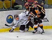 3 January 2009: Colgate Raiders' defenseman Jason Fredricks, a Senior from Eagle River, WI, in action against the Ferris State Bulldogs during the consolation game of the 2009 Catamount Cup Ice Hockey Tournament hosted by the University of Vermont at Gutterson Fieldhouse in Burlington, Vermont. The two teams battled to a 3-3 draw, with the Bulldogs winning a post-game shootout 2-1, thus placing them third in the tournament...Mandatory Photo Credit: Ed Wolfstein Photo