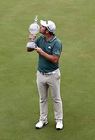 4th July 2021; Mount Juliet Golf Club, Kilkenny, Ireland; Dubai Duty Free Irish Open Golf, Day Four; Lucas Herbert of Australia kisses the winners trophy