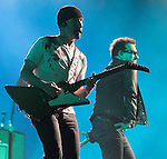 The Edge and Bono of U2 perform on the bands 360? Tour at Lincoln Financial Field in Philadelphia, Pennsylvania, USA July 14, 2011. Copyright EML/Rockinexposures.com.