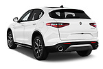Car pictures of rear three quarter view of 2020 Alfaromeo Stelvio Super 5 Door SUV Angular Rear