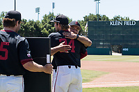 STANFORD, CA - MAY 29: Nick Brueser, David Esquer before a game between Oregon State University and Stanford Baseball at Sunken Diamond on May 29, 2021 in Stanford, California.