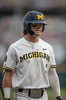 Michigan Wolverines outfielder Jesse Franklin (7) during Game 1 of the NCAA College World Series against the Texas Tech Red Raiders on June 15, 2019 at TD Ameritrade Park in Omaha, Nebraska. Michigan defeated Texas Tech 5-3. (Andrew Woolley/Four Seam Images)