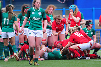 Carys Phillips (centre) of Wales scores her sides second try during the Women's Six Nations match between Wales and Ireland at Cardiff Arms Park, Cardiff, Wales, UK. Sunday 17 March 2019