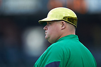 Notre Dame Fighting Irish assistant coach Jesse Woods coaches third base during the game against the Florida State Seminoles in Game Four of the 2017 ACC Baseball Championship at Louisville Slugger Field on May 24, 2017 in Louisville, Kentucky. The Seminoles walked-off the Fighting Irish 5-3 in 12 innings. (Brian Westerholt/Four Seam Images)