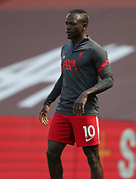 24th April 2021; Anfield, Liverpool, Merseyside, England; English Premier League Football, Liverpool versus Newcastle United; Sadio Mane of Liverpool during the pre match warm up