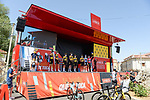 Jumbo-Visma best team after yesterday's stage at sign on before Stage 2 of La Vuelta d'Espana 2021, running 166.7km from Caleruega. VIII Centenario de Santo Domingo de Guzmán to Burgos. Gamonal, Spain. 15th August 2021.    <br /> Picture: Cxcling   Cyclefile<br /> <br /> All photos usage must carry mandatory copyright credit (© Cyclefile   Cxcling)