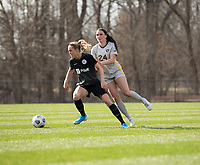 LOUISVILLE, KY - MARCH 13: Freja Olofsson #8 of Racing Louisville FC and Alina Stahl #24 of West Virginia University battle for the ball during a game between West Virginia University and Racing Louisville FC at Thurman Hutchins Park on March 13, 2021 in Louisville, Kentucky.