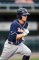 New Hampshire Fisher Cats shortstop Jon Berti (5) runs to first base during a game against the Harrisburg Senators on June 2, 2016 at FNB Field in Harrisburg, Pennsylvania.  New Hampshire defeated Harrisburg 2-1.  (Mike Janes/Four Seam Images)