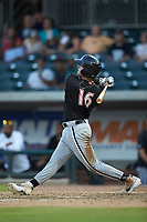Michael Hickman (16) of the Kannapolis Intimidators follows through on his swing against the Augusta GreenJackets at SRG Park on July 6, 2019 in North Augusta, South Carolina. The Intimidators defeated the GreenJackets 9-5. (Brian Westerholt/Four Seam Images)