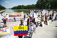 Washington D.C., USA - June 05: People attend a protest supporting the Colombian national strike in Washington, D.C. on June 5, 2021. The protests continue after five weeks while the government and the strike committee cannot reach an agreement. The Duque government and the National Committee did not reach an agreement and protests continue in Colombia. The protesters demand demilitarization while the government insists on an end to the blockades. (Photo by Pablo Monsalve / VIEWpress via Getty Images)