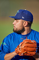 Ogden Raptors starting pitcher Antonio Hernandez (27) before the game against the Orem Owlz at Lindquist Field on July 27, 2019 in Ogden, Utah. The Raptors defeated the Owlz 14-1. (Stephen Smith/Four Seam Images)