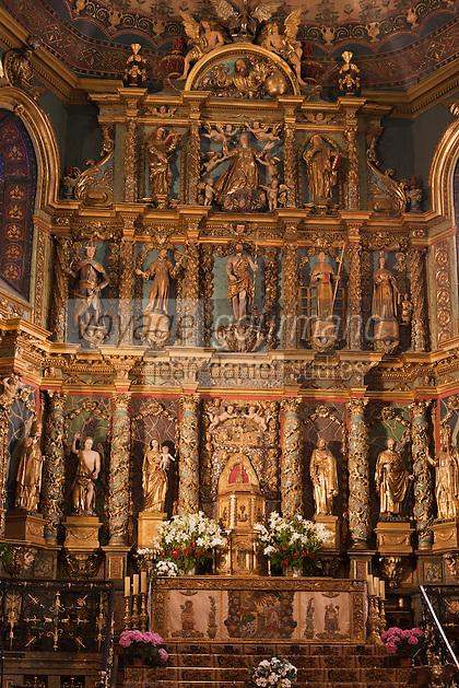 Europe/France/Aquitaine/64/Pyrénées-Atlantiques/Pays-Basque/Saint-Jean-de-Luz: L' église Saint-Jean-Baptiste - Retable monumental, en bois doré sculpté