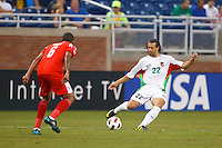 Guadeloupe defender Mickael Tacalfred (22) during the CONCACAF soccer match between Panama and Guadeloupe at Ford Field Detroit, Michigan.
