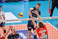 Norwegian Rune Fasteland of Roeselare  pictured during a Volleyball game between Knack Volley Roeselare and Greenyard Maaseik , the third game in a best of five in the play offs in the 2020-2021 season , saturday 10 th April 2020 at the Schiervelde international Sportshall in Roeselare  , Belgium  .  PHOTO SPORTPIX.BE   DAVID CATRY