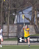 University of Vermont midfielder Natalie Jones (2) passes the ball. Boston College defeated University of Vermont, 15-9, at Newton Campus Field, April 4, 2012.