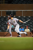 Glendale Desert Dogs Stuart Fairchild (18), of the Cincinnati Reds organization, at bat during an Arizona Fall League game against the Scottsdale Scorpions on September 20, 2019 at Salt River Fields at Talking Stick in Scottsdale, Arizona. Scottsdale defeated Glendale 3-2. (Zachary Lucy/Four Seam Images)