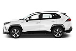 Car Driver side profile view of a 2021 Toyota RAV4-Hybride-Rechargeable Premium-Plus 5 Door SUV Side View