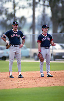 Boston Red Sox Rick Lancellotti (left) and Mike Twardoski during spring training circa 1991 at Chain of Lakes Park in Winter Haven, Florida.  (MJA/Four Seam Images)
