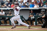 Mississippi State Bulldogs shortstop Jordan Westburg (11) follows through on his swing during Game 8 of the NCAA College World Series against the Auburn Tigers on June 16, 2019 at TD Ameritrade Park in Omaha, Nebraska. Mississippi State defeated Auburn 5-4 6-3. (Andrew Woolley/Four Seam Images)