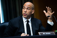 """United States Senator Cory Booker (Democrat of New Jersey), speaks during the US Senate Judiciary Committee hearing titled """"Examining Best Practices for Incarceration and Detention During COVID-19,"""" in Dirksen Building in Washington, D.C. on Tuesday, June 2, 2020.<br /> Credit: Tom Williams / Pool via CNP/AdMedia"""