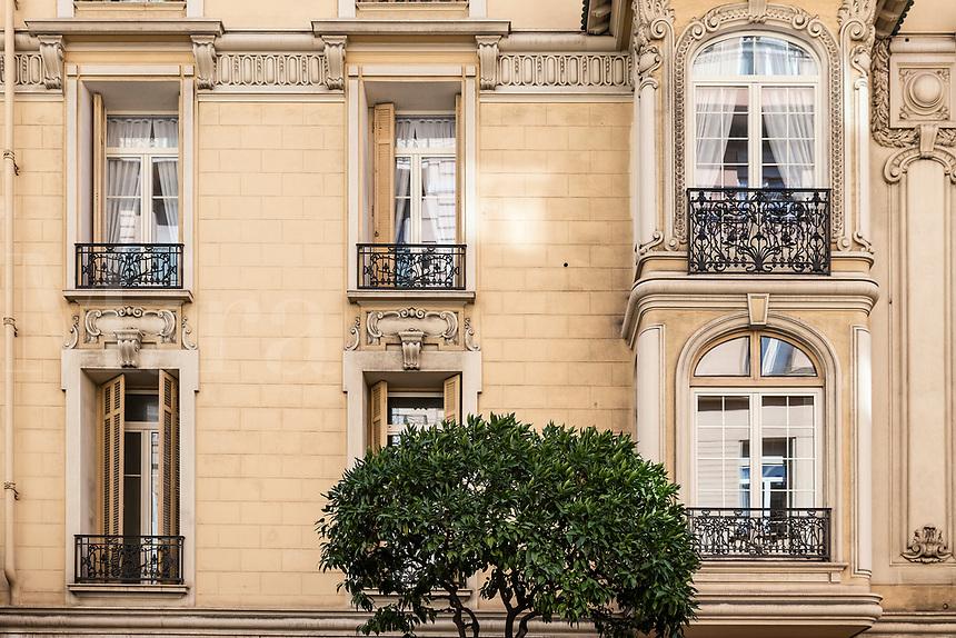 Apartment building detail in the La Condamine district of Monaco.