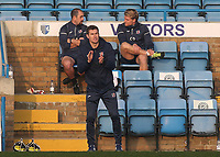 Exeter City Manager, Matt Taylor, urges his team on from the away dug-out during Gillingham vs Exeter City, Emirates FA Cup Football at the MEMS Priestfield Stadium on 28th November 2020